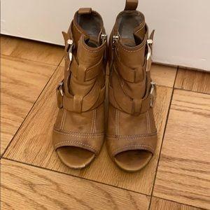 Open toe shoe booties